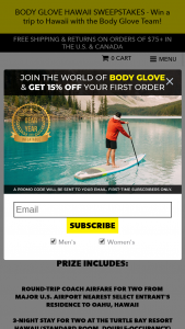 Body Glove – Hawaii – Win details are as follows Round trip coach airfare for two from major US airport nearest Selected Entrant's residents to Oahu Hawaii