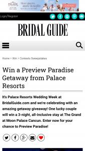 Bridal Guide – Palace Resorts Wedding Week Sweepstakes