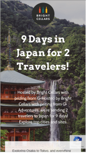 Bright Cellars – 9 Day Tour Of Japan Sweepstakes