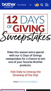 Brother International – 12 Days Of Holiday Giveaways Sweepstakes