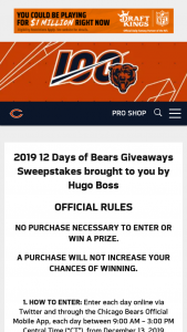 Chicago Bears – 2019 12 Days Of Bears Giveaways Sweepstakes