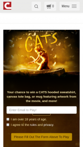 """Cinemark – Cats Trivia Instant Win Game – Win a """"Cats"""" hooded sweatshirt with an approximate retail value (""""ARV"""") of $45 each"""