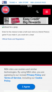 Detroit Pistons – Jeep Vehicle Half-Court Shot – Win a $35000.00 voucher from FCA to redeem on the purchase of any Jeep model