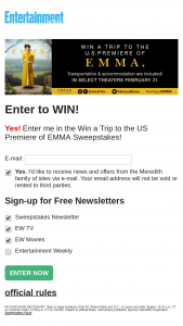 """Entertainment Weekly – Trip To The Us Premiere Of Emma – Win A trip for winner and one guest to the US premiere of the motion picture entitled """"EMMA""""."""