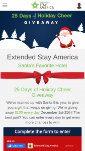 Extended Stay America – 25 Days Of Holiday Cheer $100 Giveaway – Win a $100 VISA Gift Card each day December 1-25  2019 for a total of twenty five (25) winners