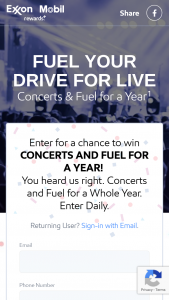 "Exxonmobil – Fuel Your Drive For Live – Win $4500 in Ticketmaster® gift cards (""Gift Card"") and $2200 in Exxon Mobil Rewards loyalty program points"