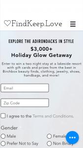 Findkeeplove – $3000 Holiday Glow Getaway Sweepstakes