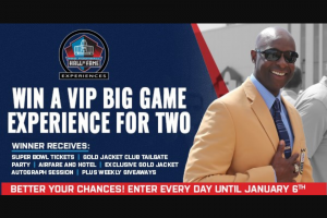 "Gatehouse Media – Vip Big Game Experience – Win be awarded the following prize package (the ""Football Prize Package"")  1."