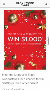 General Growth Services – Beachwood Place Merry & Bright – Win a $1000 gift card One winner will receive an 8' bear