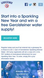 Gerolsteiner – Sparkling New Year – Win one (1) case of Gerolsteiner 16.9 OZ PET (500ml) water bottles [twenty-four (24) bottles per case].