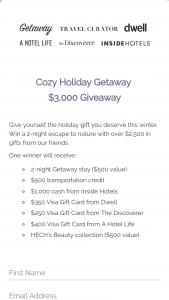 Getaway House – Cozy Holiday Getaway Sweepstakes