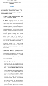 Hyundai Motor America – 2020 Model Year Auto Show Sweepstakes