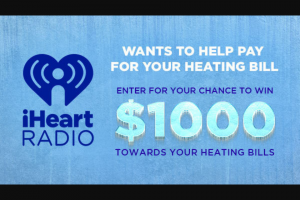 Iheart – Pay Your Heating Bill – Win $1000 in the form of a check
