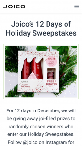 Joico – 12 Days Of Holiday Giveaways Sweepstakes