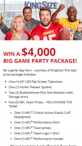 Kingsize Full Beauty Brands – Big Game – Win a prize package to include Two BrylaneHome Plus Size Recliners with Storage Arms