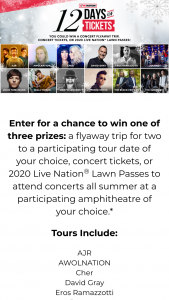 Live Nation – 12 Days Of Tickets Giveaway Sweepstakes