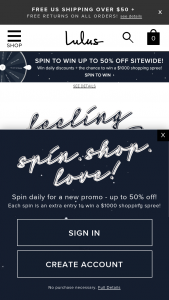 Lulus – Spin Shop Love Holiday Sweepstakes