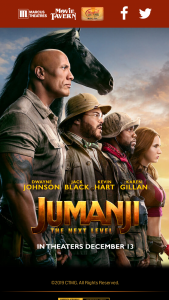 Marcus Theaters – Jumanji The Next Level – Win One Marcus Theatres Annual Movie Pass