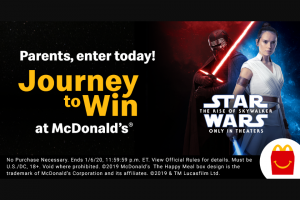 Mcdonald's – Journey To Win – Win vacation for the winner and three guests to Walt Disney World® Resort near Orlando Florida
