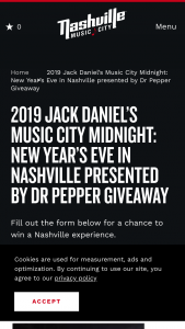Nashville Convention & Visitors Corp – 2019 Jack Daniel's Music City Midnight New Year's Eve In Nashville Presented By Dr Pepper Giveaway Sweepstakes