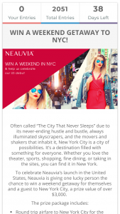 Neauvia – Weekend In New York – Win the following prize package with a value of over $3000 USD