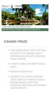 Preferred Hotel Group – Luxury In The Riviera Maya Sweepstakes
