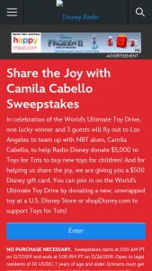 Radio Disney – Share The Joy Sweepstakes