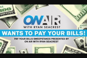 """Ryan Seacrest – Pay Your Bills 2 – Win check in the amount of two thousand-five hundred dollars ($2500.00) made payable to the Winner (Approximate Retail Value (""""ARV"""") $2500.00)."""