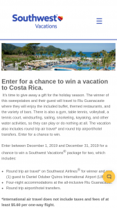 Southwest Vacations – Costa Rica Sweepstakes