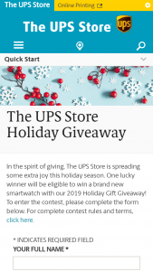 The Ups Store – 2019 Holiday Gift Giveaway – Win is a smartwatch (ARV $399.00).