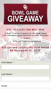 University Of Oklahoma – Bowl Game Giveaway – Win four tickets to the OU Bowl Game