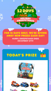 Viacom – 12 Days Of Nick Jr Holiday Sweepstakes & Instant Win Sweepstakes