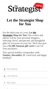 Vox Media – Let The Strategist Shop For You – Win is one $1500 Amazon gift card