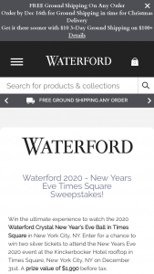 Waterford Fiskars – New Years Eve Times Square Sweepstakes