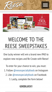 World Finer Foods Reese – Holiday – Win WINNER) Prize package including Apple 10.2-inch iPad Wi-Fi 32GB – Space Gray