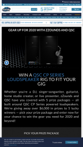 Zzounds – Gear Up For 2020 Giveaway – Win one (1) of the following packages  (1) DJ Package Prize The winner shall receive one (1) Pair QSC CP12 Compact Powered Loudspeakers