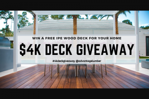 Advantagelumber – $4000 Ipe Wood Deck Giveaway – Win 1040 lineal feet of 5/4×4 Ipe Pregrooved $3151.20 5 Box Ipe Clip Ext $595.00 1 Qrt End Seal $22.00 1 Gal Ipe Oil $60.90 Freight Shipping to the lower 48 US States