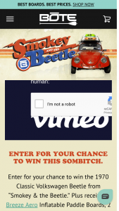 Bote – Smokey & The Beetle Giveaway – Win a $1000 cash payment instead of the Volkswagen Beetle should they desire not to transport it