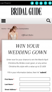 Bridal Guide – March/april 2020 Christina Wu Cover Gown – Win Christina Wu wedding gown style #15737 featured on the cover of Bridal Guide's March/April 2020 issue or any active Christina Wu style with a value up to $1600.