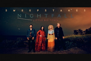CMT – After Midnite With Cody Alan Little Big Town Nightfall – Win includes Round trip coach airfare for two Two nights hotel accommodations Two tickets to the March 14th show Meet and greet with Little Big Town Total ARV of all prizes is $2000.00