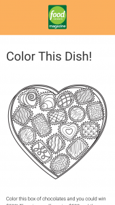 Food Network Magazine January/february Color This Dish Contest – Win a $500 check (Total ARV $500).