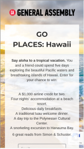 General Assembly – Go Places Hawaii 2020 – Win A $1000 travel credit issued via giftcard (ARV $1000).