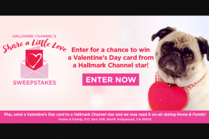 Hallmark Channel – Share A Little Love Sweepstakes