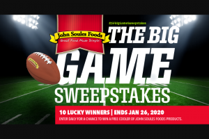 John Soules Foods – Big Game – Win a foam cooler full of John Soules Foods frozen chicken and beef products