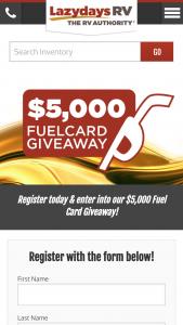 Lazydays Rv – Fuel Card – Win (1) $5000 Gift Card