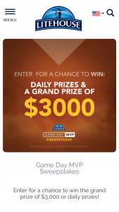 Litehouse – Game Day Mvp – Win which will be awarded after the conclusion of the sweepstakes period