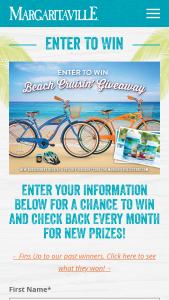 Margaritaville – Beach Cruisin' Giveaway Sweepstakes