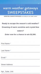 Midwest Living – 2020 Warm Weather Getaways – Win $2500 awarded in the form of a check