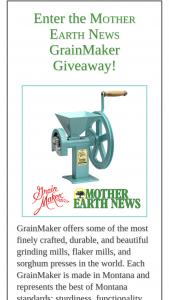 Mother Earth News – Grainmaker Giveaway – Win list GrainMaker Model No