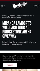Nashville Convention & Visitors Corp – Miranda Lambert's Wildcard Tour At Bridgestone Arena Giveaway Sweepstakes